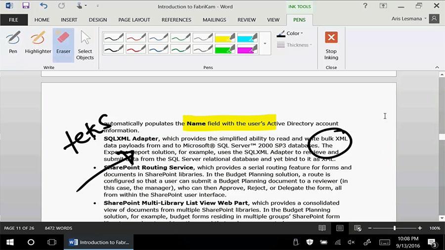 Menggunakan Ink Tools pada Microsoft Office