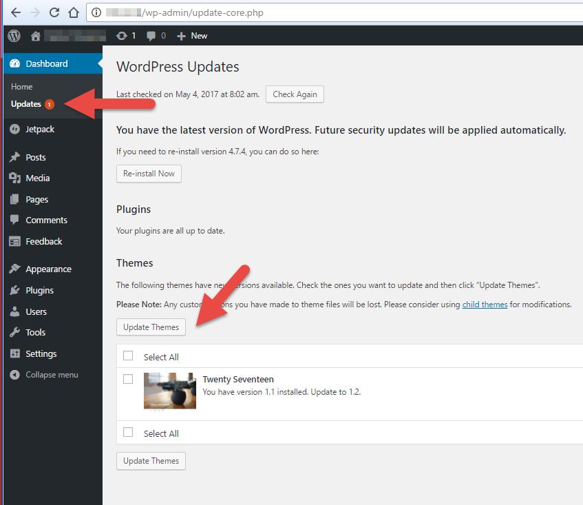 Menonaktifkan Notifikasi Update Themes pada WordPress