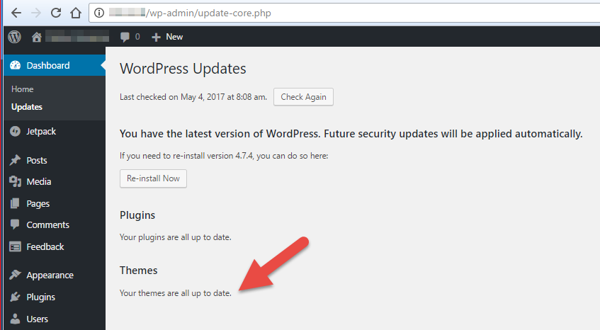 Menonaktifkan Notifikasi Update Themes pada WordPress