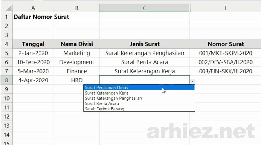 Membuat Penomoran Surat Otomatis pada Excel