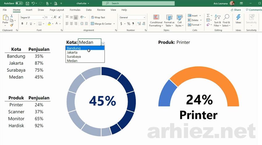 Membuat Progress Circle Chart pada Excel
